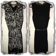 Collared Animal Print Dress Bring in the heat for your wild summer featuring an all over black and white front animal print with collar. Lightweight material no sleeve dress. Back is all black cotton. Comes with a tie belt. NWOT never used. Joseph A Dresses Midi