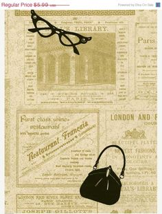 Wallpaper French Newsprint Ads - Couture Handbag, Fashion Accessories, Chic, Paris, London, France -  By The Yard - PA5656 $5.99 per yard @ WallpaperYourWorld.etsy.com