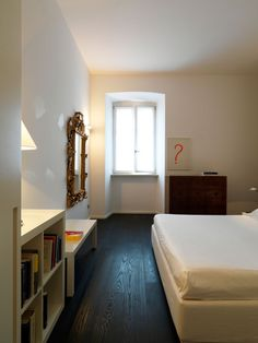 Apartement, Comfortable Berdoom Design With White Bed Cover And White Bookshelf Also Laminated Wooden Floor With Glass Windows: Beautiful Ap...