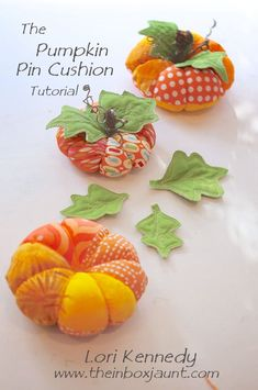 """Sewing Cushions Tuesday Tutorial-The Pumpkin Pin Cushion - Good Morning, Quilters! We have a different sort of """"Tuesday Tutorial"""" today…I was waylaid by Halloween and a wonderful tutorial offered at Fiskars for an adorable pumpkin pin cus… Fabric Crafts, Sewing Crafts, Sewing Projects, Diy Cushion, Sewing Pillows, How To Make Pillows, Halloween Projects, Sewing Accessories, Sewing Notions"""