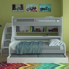 Brayden Studio Gautreau Twin Futon Bunk Bed with Table and Trundle Color: Gloss White and Matt Silver Bunk Bed With Trundle, Bunk Beds With Stairs, Cool Bunk Beds, Twin Bunk Beds, Kid Beds, Twin Futon, Futon Bunk Bed, Twin Xl Bedding, Bed Couch