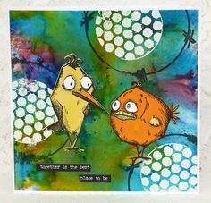 Crazy Together by Fliss Goodwin   That's Blogging Crafty! Full tutorial on blog. Brusho background.