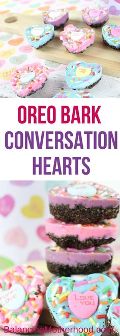Make these colorful and tasty Oreo bark conversation heart candies for Valentine's Day. #valentinesdessert #chocolatebark #candy #pink #blue #sprinkles