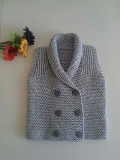 Ideas For Crochet Baby Boy Sweater Grey Baby Boy Vest, Baby Boy Sweater, Knitted Baby Cardigan, Knit Baby Sweaters, Boys Sweaters, Baby Boys, Baby Boy Knitting, Knitting For Kids, Baby Knitting Patterns