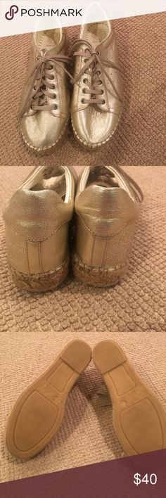 Kurt Geiger Gold Flatform Trainers Worn just once - Kurt Geiger KG Lovebug flatform trainers (tennis shoes ) in champagne Color.  Size 40.  Leather shoes with tonal laces and sporty perforations with an Espadrille - style sole.  Super comfy !! Kurt Geiger Shoes Sneakers