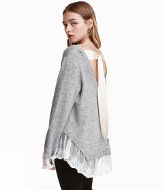 Pullover mit Spitzenborte | Grau | Damen | H&M DE