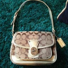 """I just discovered this while shopping on Poshmark: ❗SOLD❗Coach signature penny flap purse. Check it out!  Size: 8""""x5.5"""