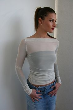 f116e2865b89 Cream mesh top with extra long sleeves size M + black tube top