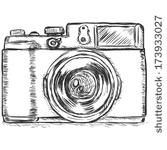 Camera Sketch Images Stock Photos Vectors Shutterstock Hand Sketch Drawing Illustration Of A Digital Slr Camera Drawing Drawing Camera Sketch Camera Sketches, Camera Drawing, Cute Sketches, Pencil Camera, Camera Cartoon, Camera Clip Art, Camera Illustration, Simple Camera, Photo Maker