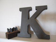Letter K Industrial Gray Vintage
