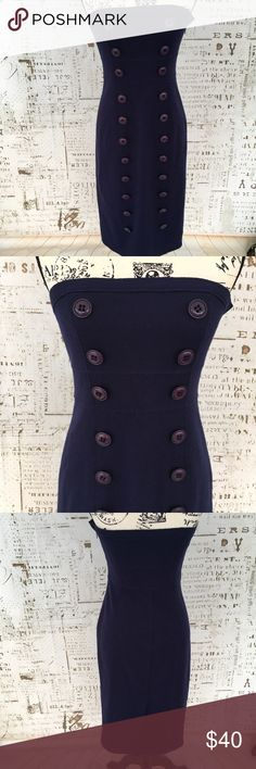 Susana Monaco navy military style strapless dress Susana Monaco navy military style strapless dress, size 8, decorative buttons down front, hidden side zipper, 100% wool, bust only lined, EUC, pit to pit 15 inches, waist flat laying 13 inches, hips flat laying 17 inches, total length 34.5 inches, runs small. Susana Monaco Dresses Strapless