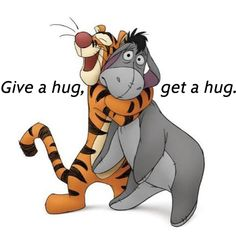Great wallpaper image of Tigger the tiger giving Eeyore the donkey a big hug from Disney's Winnie the Pooh. See all Winnie the Pooh Tigger And Pooh, Winne The Pooh, Winnie The Pooh Quotes, Pooh Bear, Disney Winnie The Pooh, Walt Disney, Disney Love, Disney Magic, Disney Pixar