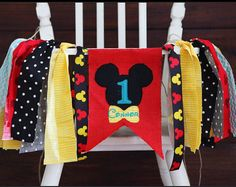 Mickey Mouse Clubhouse Inspired First Birthday Highchair Banner One