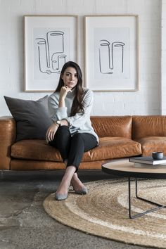 Our Artist ROZE with 2 of her works and our Walter Sofa designed by Cameron Foggo for our Staple&Co collection. Gray Interior, Interior Design, Tan Leather Sofas, Simple Aesthetic, Perfectly Imperfect, Affordable Art, Fabric Sofa, Simple Art, Happy Girls