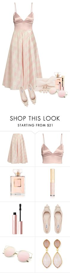 """""""Checked skirts!"""" by sarahguo ❤ liked on Polyvore featuring Valentino, Chanel, Dolce&Gabbana, Too Faced Cosmetics and Dina Mackney"""