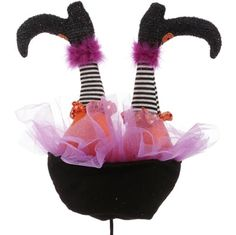 """RAZ 15"""" Witch Butt Black, White, Orange, and Purple Made of Polyester Measures 15"""" X 10.5"""" X 4.5"""" RAZ 2017 Halloween Collection"""