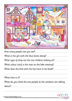 This picture comprehension is a fun end of term Christmas activity for the kids to try. Can they study the pretty Christmas scene then answer a few questions all about what they see? English Units, English Fun, English Lessons, Paragraph Writing Worksheets, Comprehension Worksheets, Picture Comprehension, Reading Comprehension, Christmas Scenes Pictures, Kindergarten Pictures