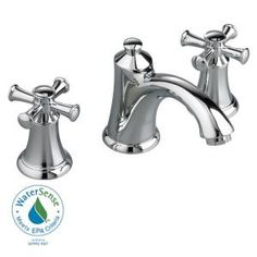 American Standard Portsmouth Single Hole 2-Handle Mid-Arc Bathroom Faucet in Polished Chrome with Speed Connect Drain and Cross Handles