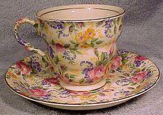James Kent Rosalynde Chintz Tea Cup and Saucer Teacup | Etsy Vintage Cups, Vintage Tea, Antique Tea Cups, Antique China, Vintage China, Cuppa Tea, My Cup Of Tea, Tea Cup Set, Tea Cup Saucer
