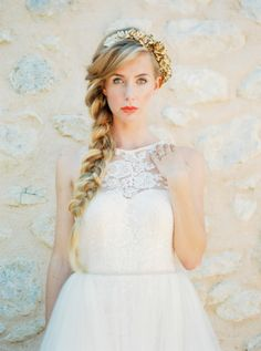 Gold headband + a bold bridal braid: http://www.stylemepretty.com/destination-weddings/2015/12/28/organic-colorful-mallorca-wedding-inspiration/ | Photography: Ana Lui Photography - http://www.analuiphotography.com/