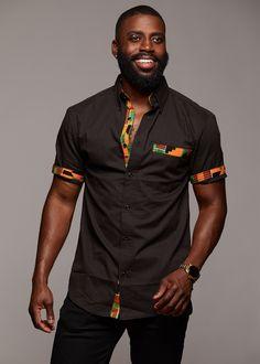 Tops - Dami Button-Up African Print Trim Shirt (Yellow Green Kente/Black) African Shirts For Men, African Attire For Men, African Clothing For Men, African Wear, African Dress, African Style, African Clothes, African American Fashion, African Print Fashion