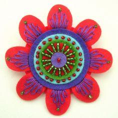 Felt flower with beads