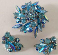 Sherman aquamarine AB Swarovski Crystal brooch and earrings