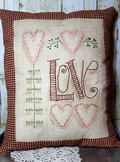 primitive valentine heart sampler pillow ~ see pattern on my Sampler & Stitching board . . .