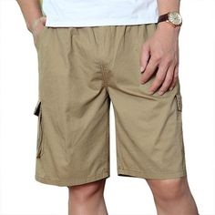 053a51fb18 Buy Mens 100%Cotton Multi-pocket Cargo Shorts Elastic Waist Solid Color Loose  Fit