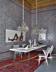 Traditional Arab house restored and furnished by Philippe Xerri - Photographer: Henri del Olmo - The beautifully decorated traditional Arab courtyard house restored and furnished by Philippe Xerri, Parisian designer based in Tunis.