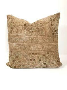 Hmong Textile Pillow Cover Vintage Ethnic Handwoven Batik