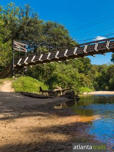 Top intown hikes and trail runs in Atlanta: explore Morningside Nature Preserve's suspension bridge over South Peachtree Creek