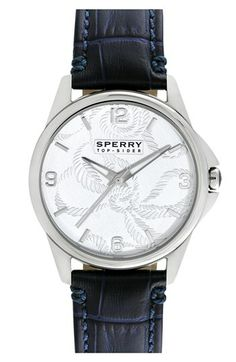 Sperry Top-Sider® Round Leather Strap Watch, 38mm available at #Nordstrom