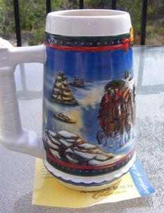 Christmas Budweiser Beer Holiday Stein 2002 Guiding The Way Home Cert Budweiser Steins, Beer Stein, Clydesdale, The Way Home, Worlds Largest, Certificate, Vintage Antiques, Holiday, Christmas