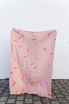 "Image of Linen Throw ""Pick Up Sticks Pink1"""