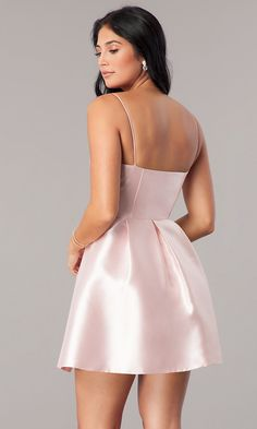 Short Satin Homecoming Dress with Notched Neckline Classy Short Dresses, Dresses Short, Hoco Dresses, Dance Dresses, Cute Dresses, Evening Dresses, Two Piece Short Dress, Homecoming Dresses Under 100, Satin Mini Dress