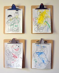 Awesome idea for hanging kids artwork. Affordable and super easy to switch as Little Picasso and Monet make their latest creations. Kids Room Wall Art, Kids Artwork, Frame Wall Decor, Frames On Wall, Little Miss Momma, Clipboard Art, Kid Toy Storage, Artwork Display, Kids Decor