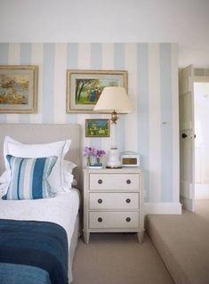 In this spare room, the striped walls are in colours custom-mixed by paint specialist Dawn Reader. Furniture Makeover, Furniture Decor, Cottage Design, House Design, Cornish Cottage, Fishermans Cottage, Discount Furniture Stores, Interior Design Singapore, Grand Homes