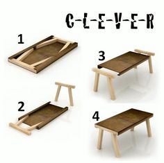 Awesome Small Wood Folding Table Very Cool Probably 11 Pieces Of Wood 5 For The Table And 6 For