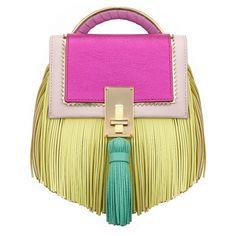 The Volon Bon-bon Pale Pink Color Block Handbag (7,015 CNY) ❤ liked on Polyvore featuring bags, handbags, shoulder bags, purses, pale pink, purse shoulder bag, pale pink purse, pink purse, pink fringe purse and man bag
