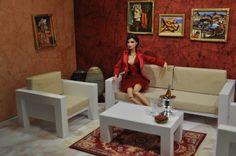 1/6 Set Wohnzimmer, Sessel, Regale und Kaffeetisch für Barbie, Momoko, Poppy Parker