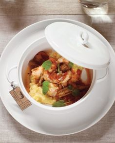 A Fresh Take on Classic Comfort Food: Plain old grits are instantly elevated when served in individual casserole dishes and topped with mouth-watering options like stewed spicy shrimp, pulled pork, or roasted mushrooms.