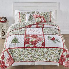 Deluxe Christmas Green Red Cotton Quilt Coverlet Bedspread 5 pcs King Queen Set #