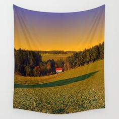Beautiful sundown in the countryside Wall Tapestries, Tapestry, Countryside Landscape, Landscape Photography, Golf Courses, Scenery, Beautiful, Products, Wall Hangings