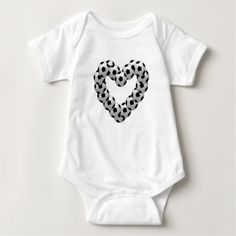 Heart of Soccer Ball Euro Futbol with Team Number Baby Bodysuit - valentines day gifts love couple diy personalize for her for him girlfriend boyfriend