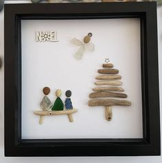 A beautiful and unique handmade beach pebble art picture of three sisters, friends, family, mother and daughters sitting on bench next to christmas tree with angel and wooden Noel sign. This picture is a lovely home decoration and would make a perfect gift. The picture is made using pebbles, Driftwood, sea glass, sea pottery and gems. All materials are carefully placed and fixed with high strength glue onto high quality white linen card. If you would like a similar picture with the number…