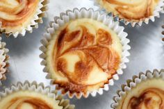 Caramel Swirl Cheesecake Cupcakes start with smooth and creamy cheesecake over a simple graham cracker crust, then they are topped with a swirl of caramel sauce just before baking. Do you remember when I promised Cupcake Recipes, Cupcake Cakes, Dessert Recipes, Gf Recipes, Pastry Recipes, Cup Cakes, Free Recipes, Strudel, Appetizers