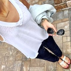 IG @mrscasual <click through to shop this look> Nordstrom soft white tank. Old navy linen drapey pants. Navy blue. Tory burch logo sandals. Rayban aviators. Denim jacket. Delicate gold bar necklace.