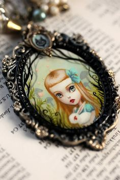 Alice and the White Rabbit - original cameo by Mab Graves by mab graves, via Flickr