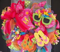 Summer Wreath, Flip Flop Wreath, Spring Wreaths, Door Hanger, Whimsical Wreath, Front door wreaths, Made to Order by OccasionsBoutique on Etsy